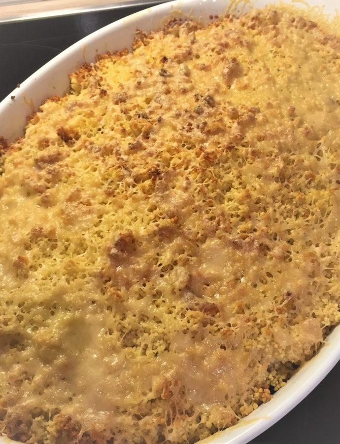 Couscous-Auflauf mit Lachs und Gemüse